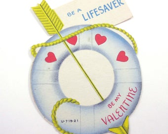 Vintage Children's Novelty Valentine Greeting Card with Lifebuoy Life Preserver or Life Ring Boat Sailing