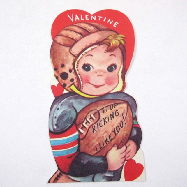 Vintage Unused Children's Novelty Valentine Card with Boy in Helmet and Uniform Holding Football