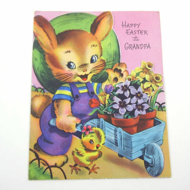 Vintage Unused Easter Card with Cute Bunny Rabbit Pushing Wheelbarrow Cart Chick and Removable Flowers from Pot