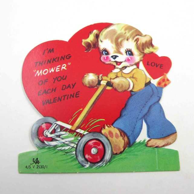 Vintage Unused Children's Novelty Valentine Card with Cute Dog and Push Lawn Mower