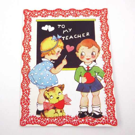 Vintage Valentine Greeting Card for Teacher with Pretty Blonde Girl and Boy at Blackboard with Dog