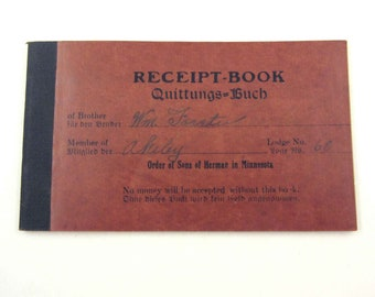 Vintage 1920s Receipt Book or Pad for Dues for The Order of Sons of Herman in Minnesota
