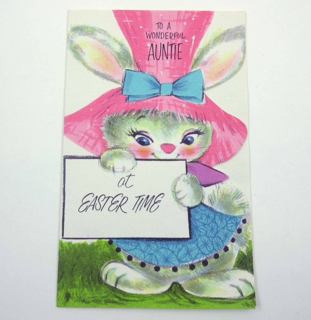 Vintage Unused Easter Card for Aunt Auntie with Cute Bunny Rabbit in Pink Hat by American Greetings
