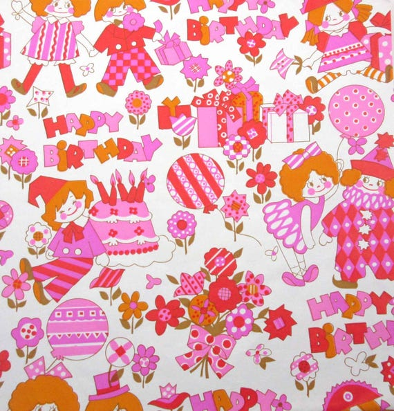 Vintage Pink Red Orange Gold Childrens Birthday Wrapping