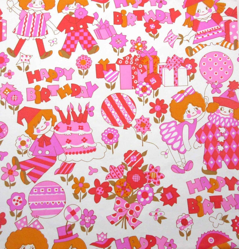 Vintage Pink Red Orange Gold Childrens Birthday Wrapping Paper Or Gift Wrap With Clowns Gifts Flowers Ballerina Dolls And Balloons