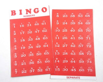 Vintage Red Cardboard Bingo Game Pieces with White Numbers and Letters Set of 75 Unpunched
