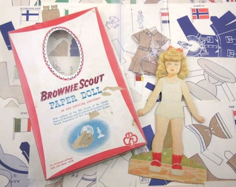 Vintage 1940s or 1950s Brownie Scout Paper Doll Girl and Uniforms from Around the World in Original Box