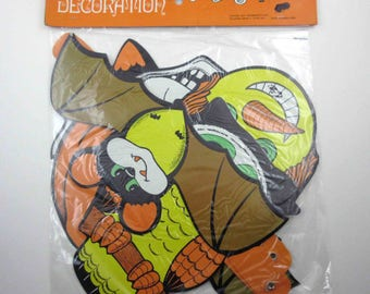 RESERVED 4 VANESSA Vintage Halloween Die Cut Decoration Banner or Garland in Original Package Witch Bats Owl Cat Skull JOL Hong Kong