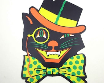 Vintage Winking Black Cat with Top Hat and Polka Dot Bow Tie Halloween Die Cut Decoration by Beistle