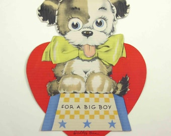 Vintage Children's Mechanical Novelty Valentine Greeting Card with Circus Dog Wearing Yellow Bow