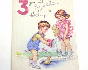 Vintage 1950s Birthday Greeting Card for Three Year Old with Cute Little Girl and Boy Playing by Pond Duck Pail Teddy Bear