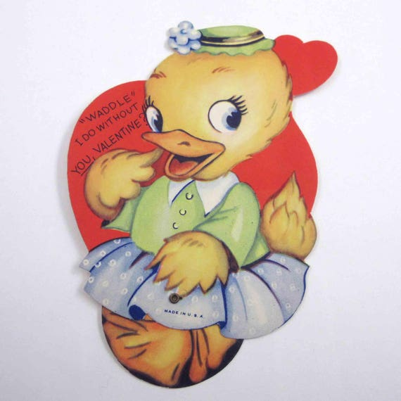 Vintage Mechanical Valentine Greeting Card with Cute Duck in Dress and Hat