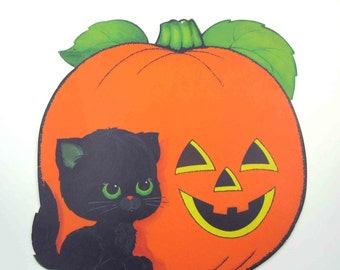 Vintage Halloween Die Cut Decoration with Adorable Black Cat and Grinning Jack O Lantern by Hallmark