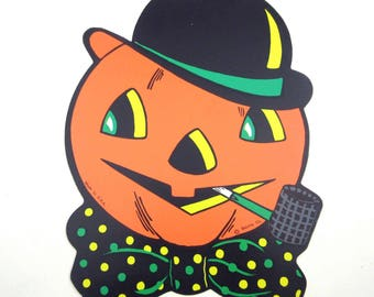 Vintage Grinning Jack o Lantern with Hat and Pipe Halloween Die Cut Decoration by Beistle
