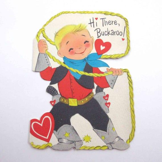 Vintage Children's Novelty Valentine Card with Cute Little Blonde Boy Cowboy in Boots Guns Lasso by Hallmark
