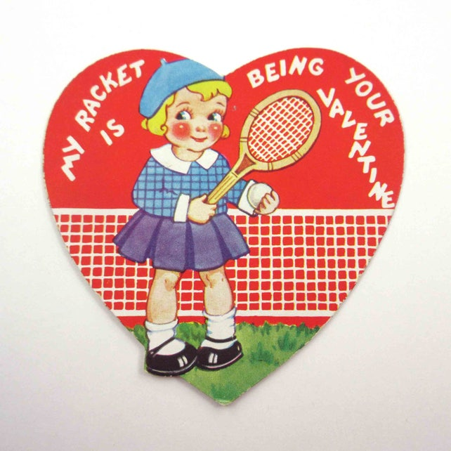 Vintage Children's Novelty Valentine Card with Cute Girl Playing Tennis with Racket and Net