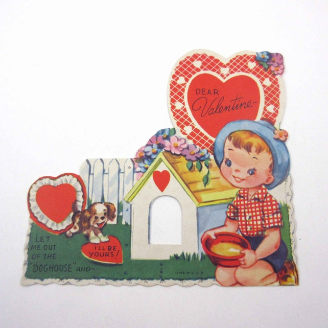 Vintage Children's Novelty Valentine Greeting Card with Cute Boy and Dog Puppy by Doghouse Peephole