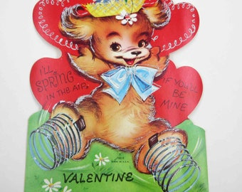 Vintage Unused Over Sized Children's Novelty Valentine Greeting Card with Cute Dog in Hat Bow and Springs on Feet