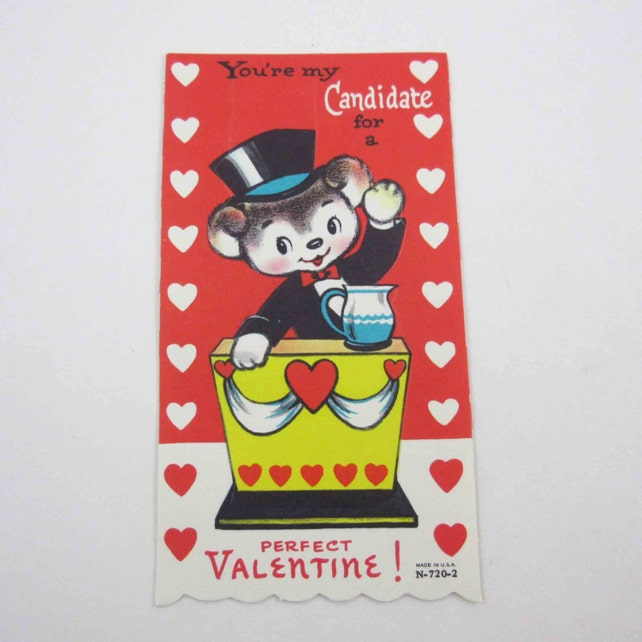 Vintage Unused Children's Novelty Valentine Greeting Card with Bear Political Candidate