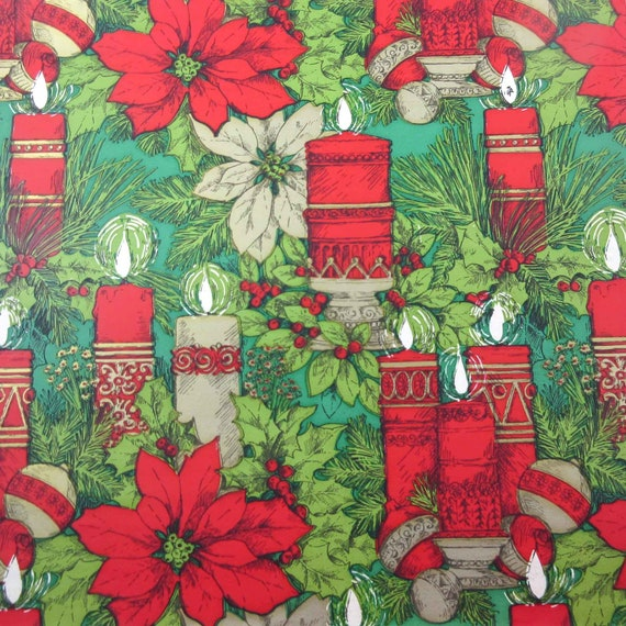 Vintage Christmas Wrapping Paper or Gift Wrap with Red and Gold Candles  Ornaments Poinsettias Greenery