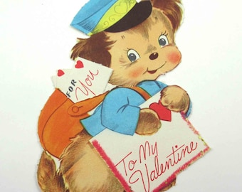 Vintage Unsued Children's Novelty Valentine Greeting Card with Cute Puppy Dog Delivering Mail with Satchel and Letters