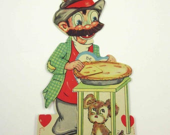 Vintage 1930s Children's Valentine Card Funny Man with Mustache Eating Pie with Dog or Puppy
