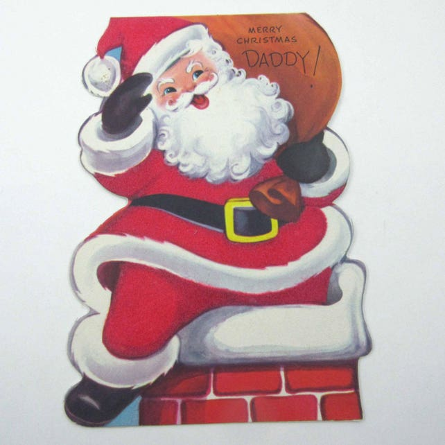 Vintage Unused Flocked Christmas Greeting Card for Daddy with Jolly Santa Claus Going Down Chimney with Sack by Rust Craft