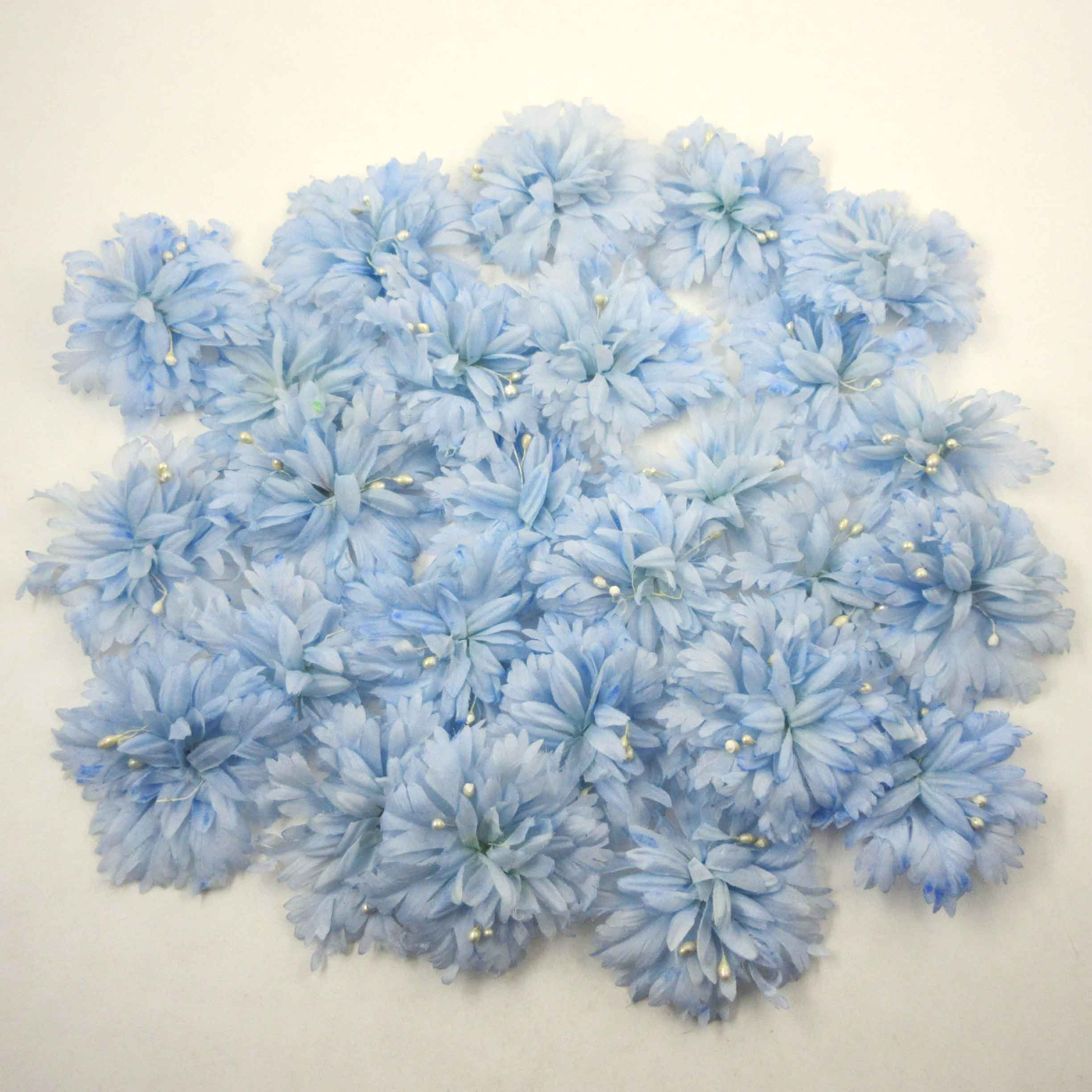 Vintage Light Blue Flowers For Millinery Hats Corsage Crafting Etsy