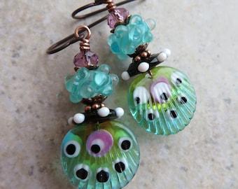 Raku Boho Artisan-Made Lampwork Headpins /& Beads Earthy Earrings Classic Northern Lights .. Neutral Copper Organic Ceramic Discs