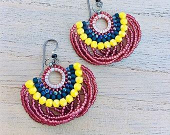 8411fc8b5 Items similar to Pink Red Green Rhinestone Dangle Fiesta Earrings ...