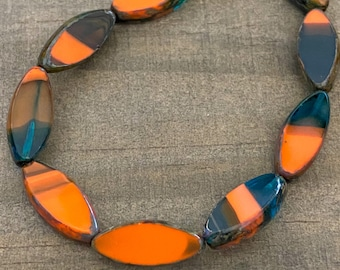 Emerald Montana Picasso with Orange, Table Cut Oval Czech glass beads, sold by the strand, 10 beads