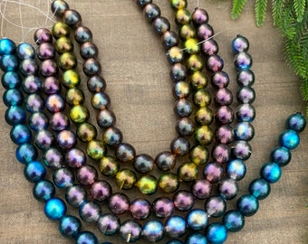 8mm, Multi-tone Czech Glass Pearl Strands, sold by the strand, 25 beads