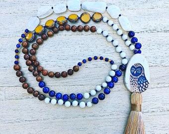 Owl Spirit, moonstone, lapis, feldspar, jasper, and Czech glass, 108 beads