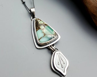 New Lander Variscite Pendant Necklace with Petal Drop, Delicate Turquoise Jewelry, Oxidized Sterling Silver, Hand Fabricated, One of a Kind