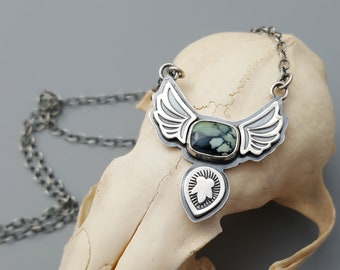 Winged Variscite and Sterling Silver Necklace, Wings Necklace, Eagle, Natural Stone