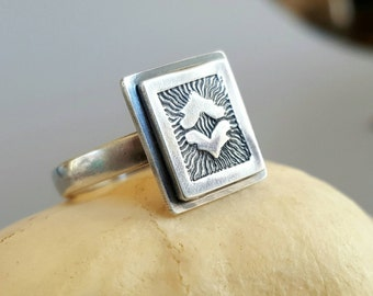 Sterling Silver Square Solitaire Ring, stamped design, layered squares, modern, textured pattern, heavier comfort band.  Size 6.5.