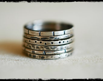 Sterling Stacking Rings, Set of 6, Textured, Oxidized