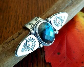 Labradorite statement ring, bold heavy sterling silver, flashy blue rose cut gemstone, bohemian gypsy style cocktail ring