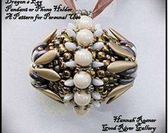 NEW Bead Tutorial - Dragon's Egg Pendant or Phone Holder Tutorial - Seed Bead Czech Glass Advanced Beaded pattern instructions Hannah Rosner