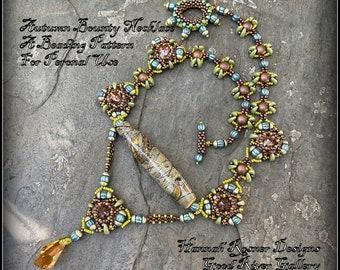 NEW Bead Tutorial - Autumn Bounty Necklace Tutorial - Seed Bead Czech Glass Intermediate Beading pattern instructions - Hannah Rosner Design