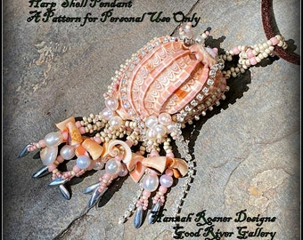 NEW Bead Tutorial - Harp Shell Tutorial - Seed Bead & Cup Chain Embroidery Intermediate Beaded Pendant pattern instructions - Hannah Rosner