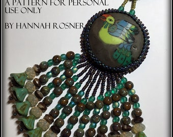 Bead Embroidery Pattern or Instructions - Seed Bead Embroidered All levels Tutorial Cuff Bracelet Fringed Pendant by Hannah Rosner Designs