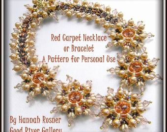 NEW Bead Pattern Red Carpet Bracelet or Necklace-  Intermediate tutorial instructions - beading by Hannah Rosner
