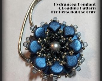 NEW Bead Tutorial - Hydrangea Pendant Tutorial - Seed Bead & Czech Glass Intermediate Beaded Pendant pattern instructions - Hannah Rosner