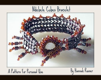 Beading Pattern Herringbone Ndebele Cubes Bracelet with Toggle Clasp Seed Bead tutorial instructions by Hannah Rosner