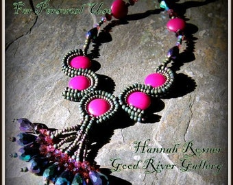NEWLY UPDATED Bead Tutorial - Arabesque Necklace Tutorial - Seed Bead Czech Glass Intermediate Beading pattern instructions - Hannah Rosner