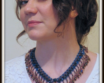 Beginning Beading Pattern Embellished Spiderweb Bracelet or Necklace Seed Bead tutorial instructions by Hannah Rosner