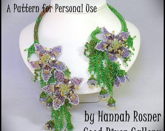 Bead Pattern Passion Flower Beaded Vine Necklace advanced peyote stitch and ndebele tutorial instructions by Hannah Rosner