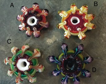 CLEARANCE - Lampwork Glass RAINBOW Focal Bead Necklace/Pendant -  Mandala Beads by Hannah Rosner Designs - Good River Gallery
