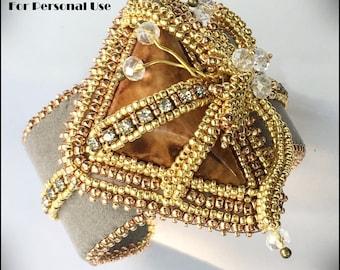 NEW Bead Tutorial - Nouveau Tendrils - Bead Embroidery & Herringbone Intermediate Beaded Bracelet pattern instructions Hannah Rosner Design